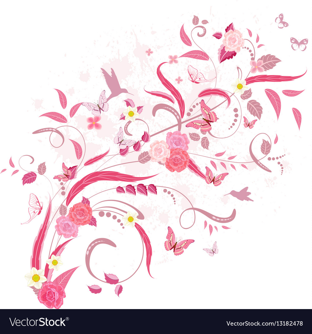 Elegant floral ornament with roses and birds for