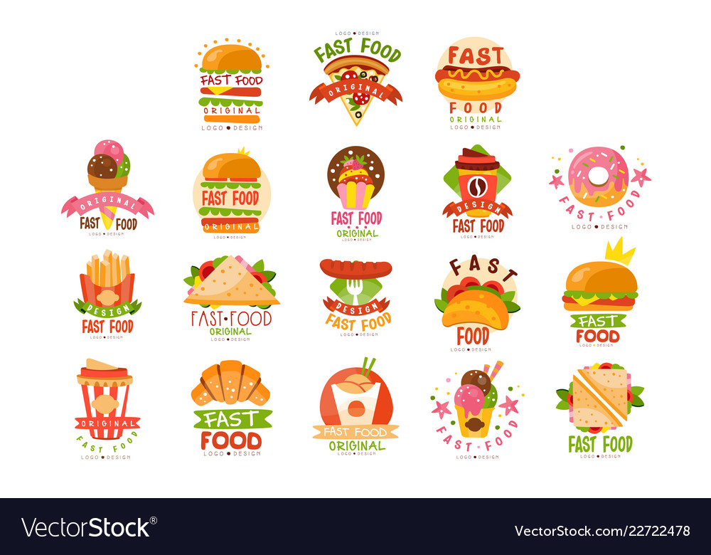 Fast food logos set food and drink menu burger