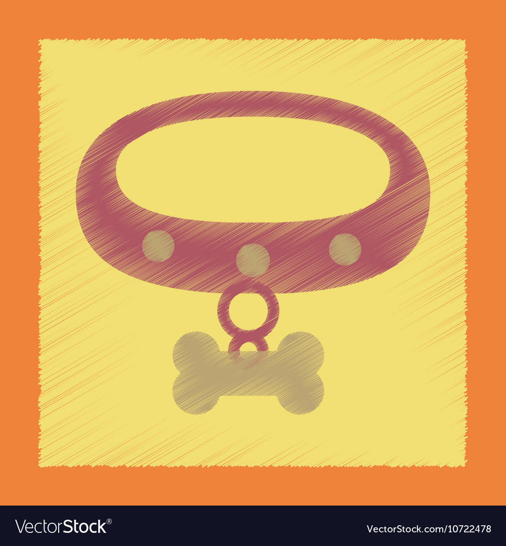 Flat shading style icon dog collar vector image