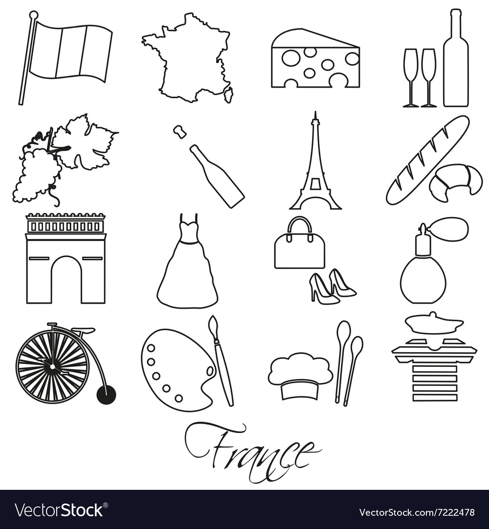 France country theme outline symbols and icons set vector image