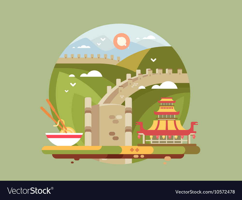 Great wall of china Royalty Free Vector Image - VectorStock