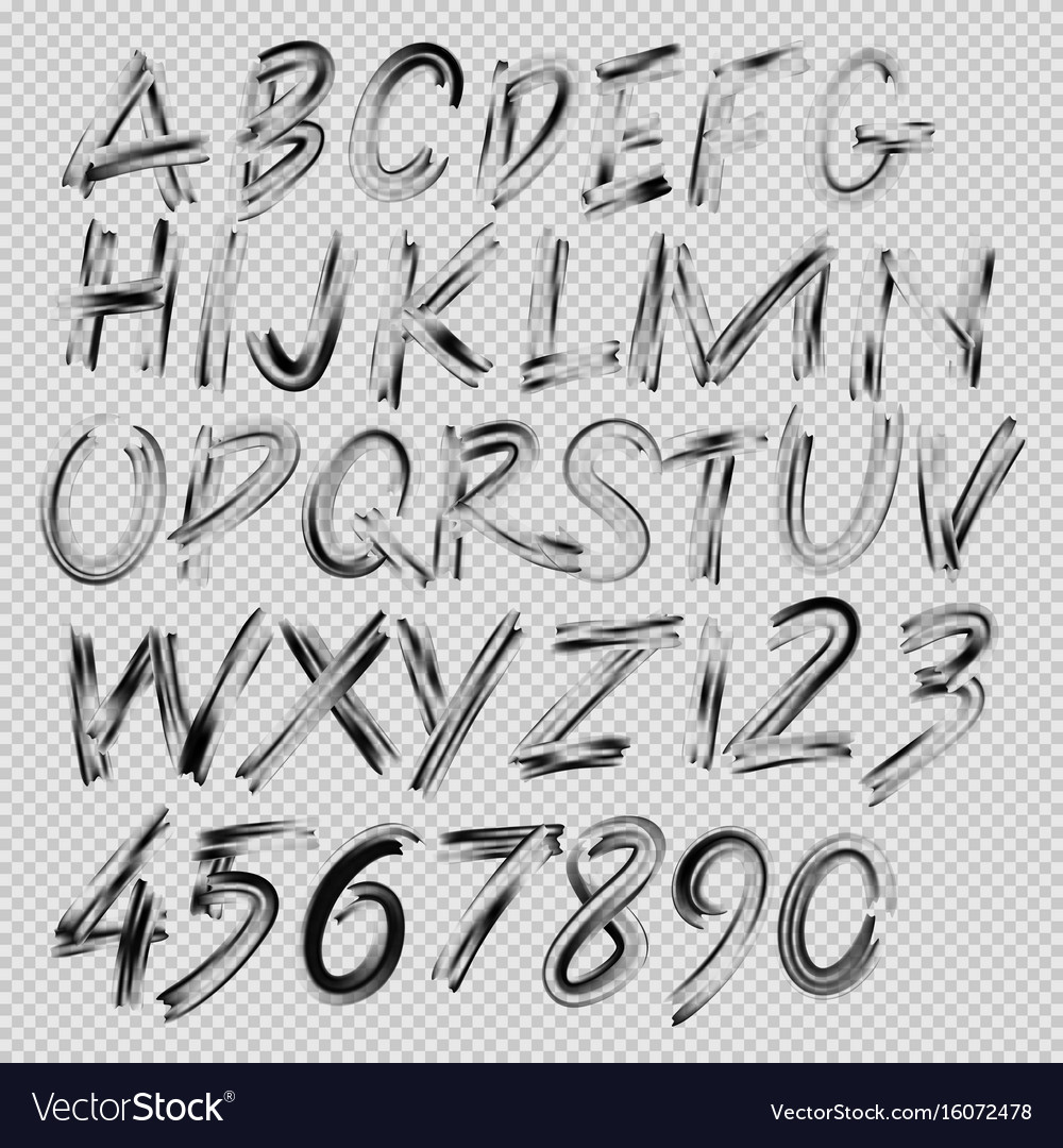 Handwritten brush font letters and numbers