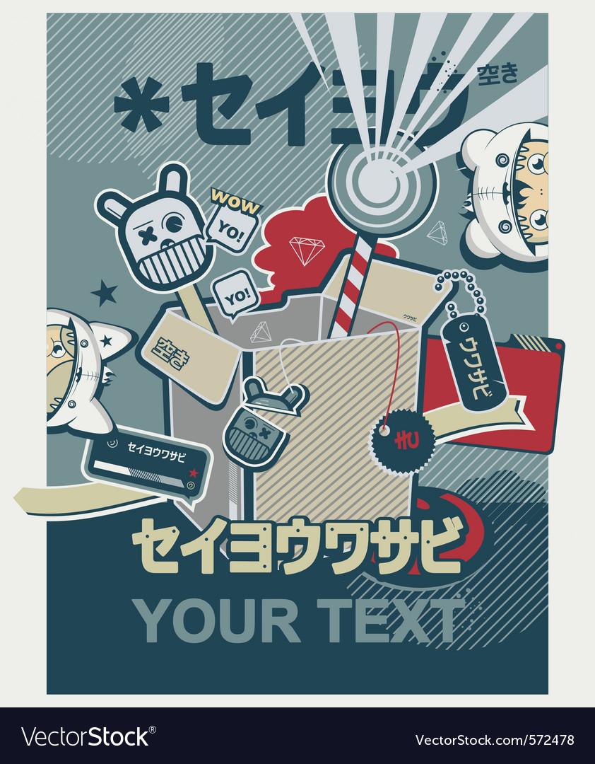 Japanese anime graffiti poster vector image
