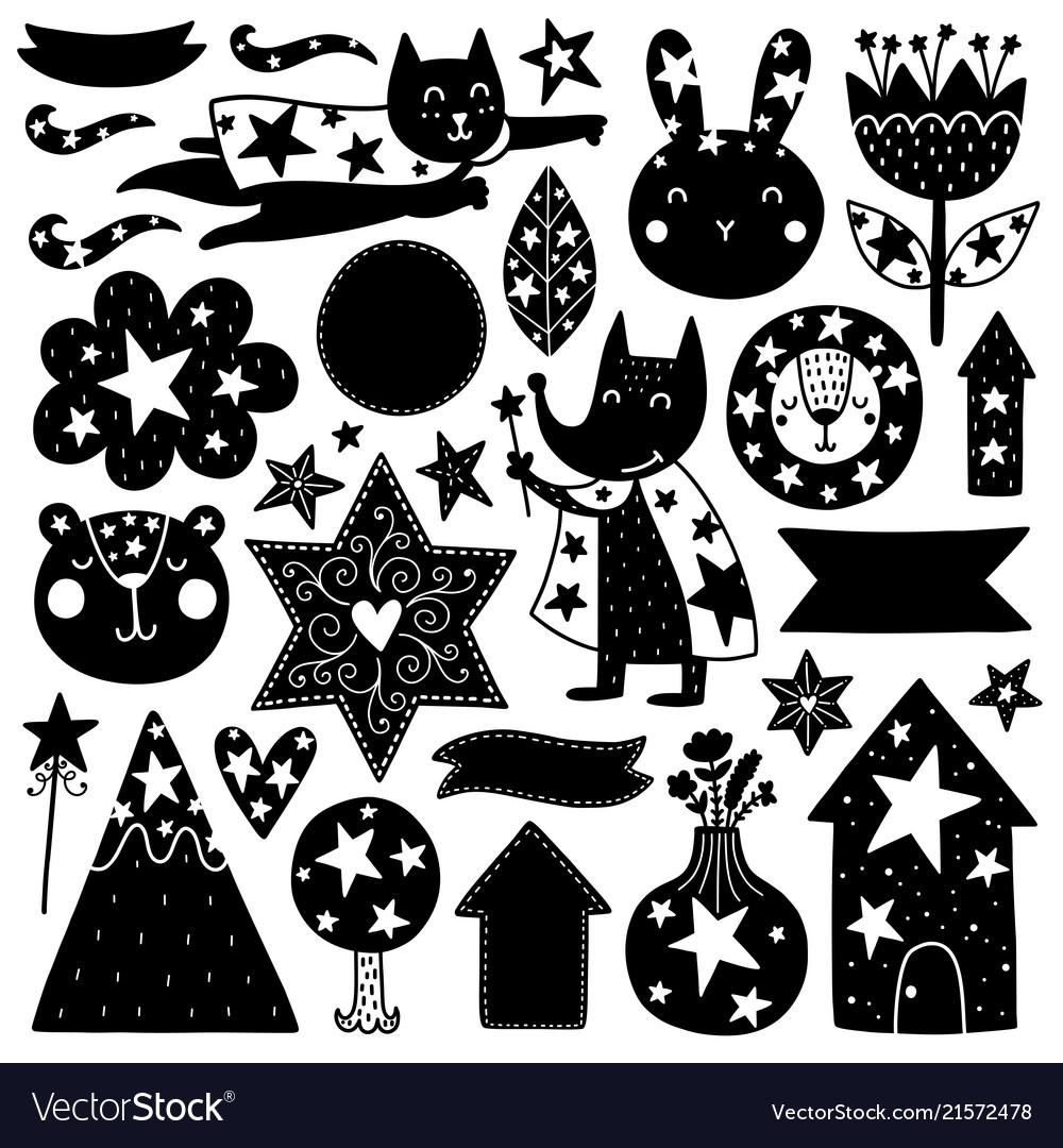 Scandinavian kids doodles elements