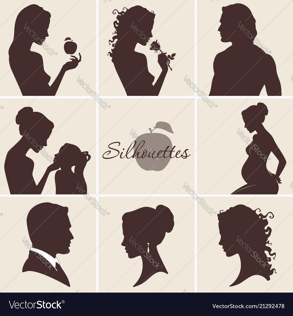 Silhouettes set with woman man and child