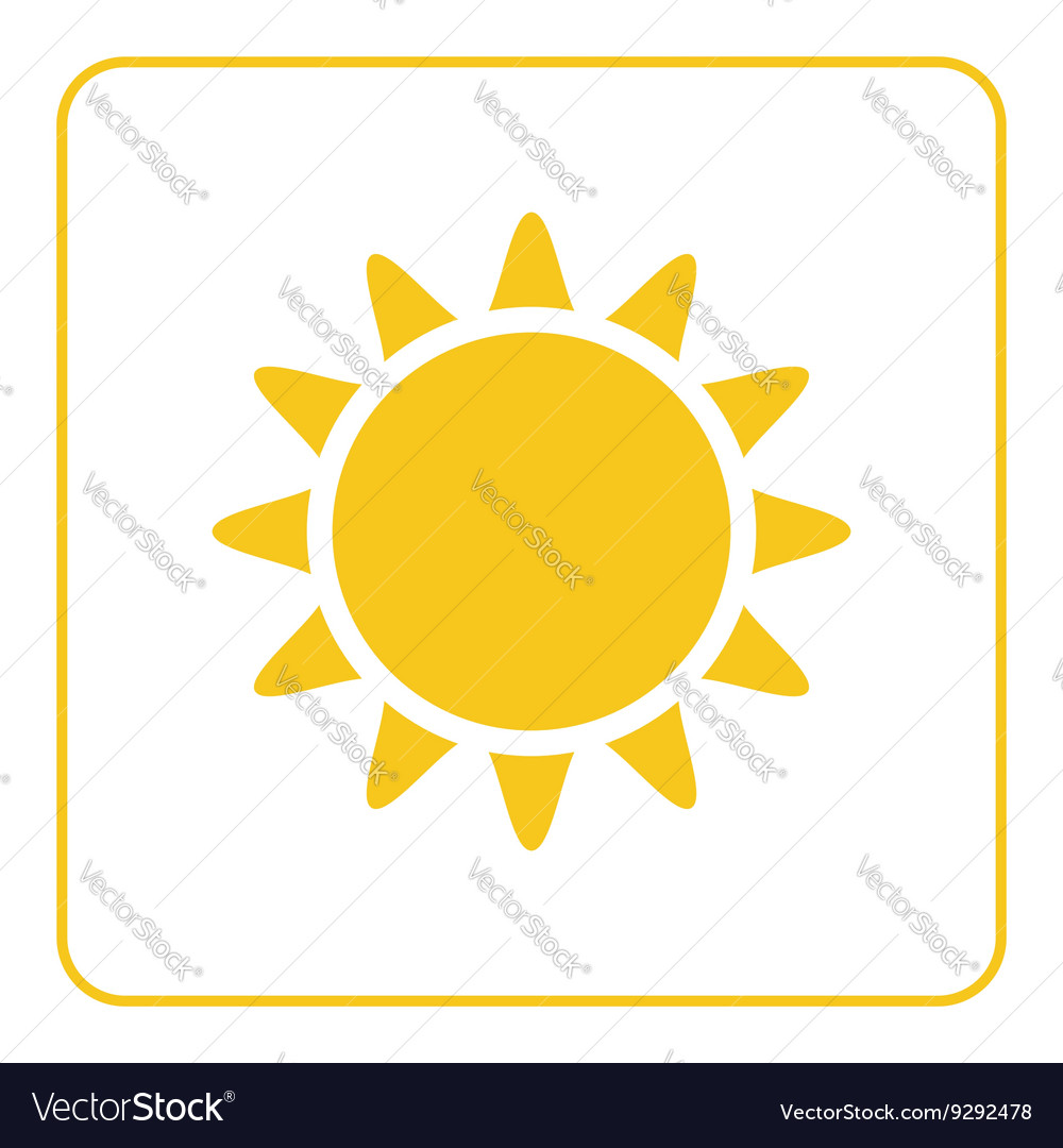 Sun icon Light sign with sunbeams yellow design