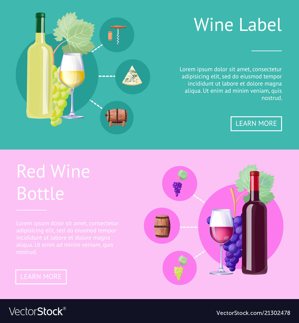 Wine label and bottle of red internet banners