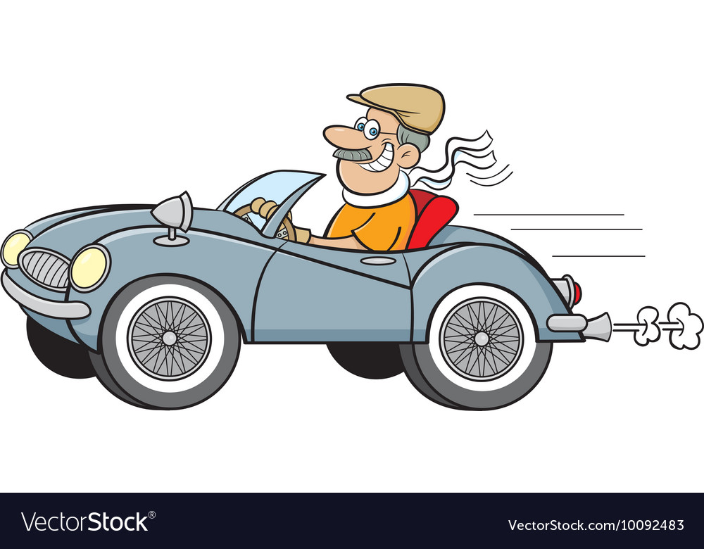 Cartoon man driving a car Royalty Free Vector Image