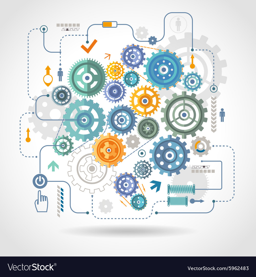 Cogged wheels gear mechanism schema poster vector image