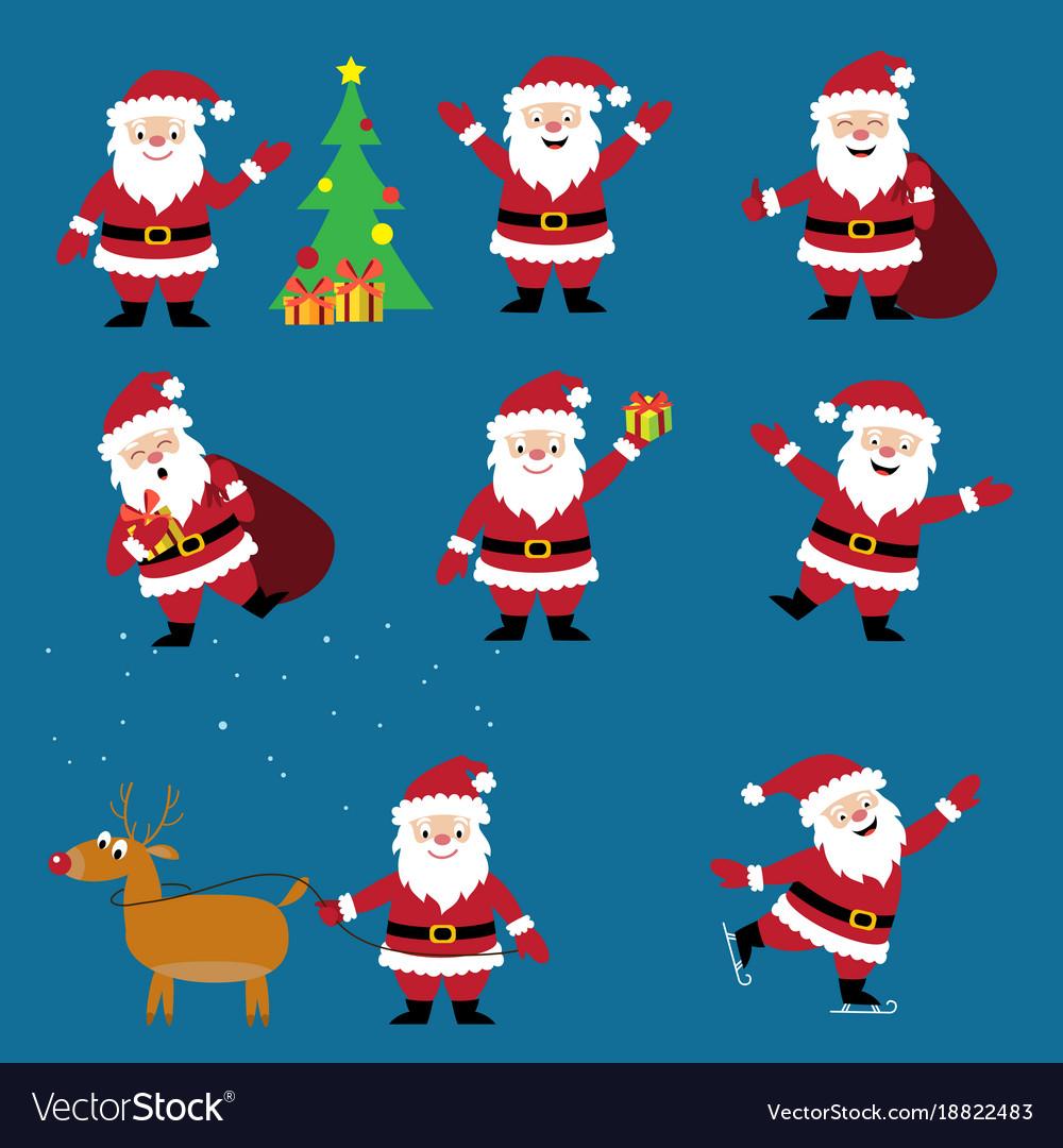 Cute cartoon santa claus set christmas