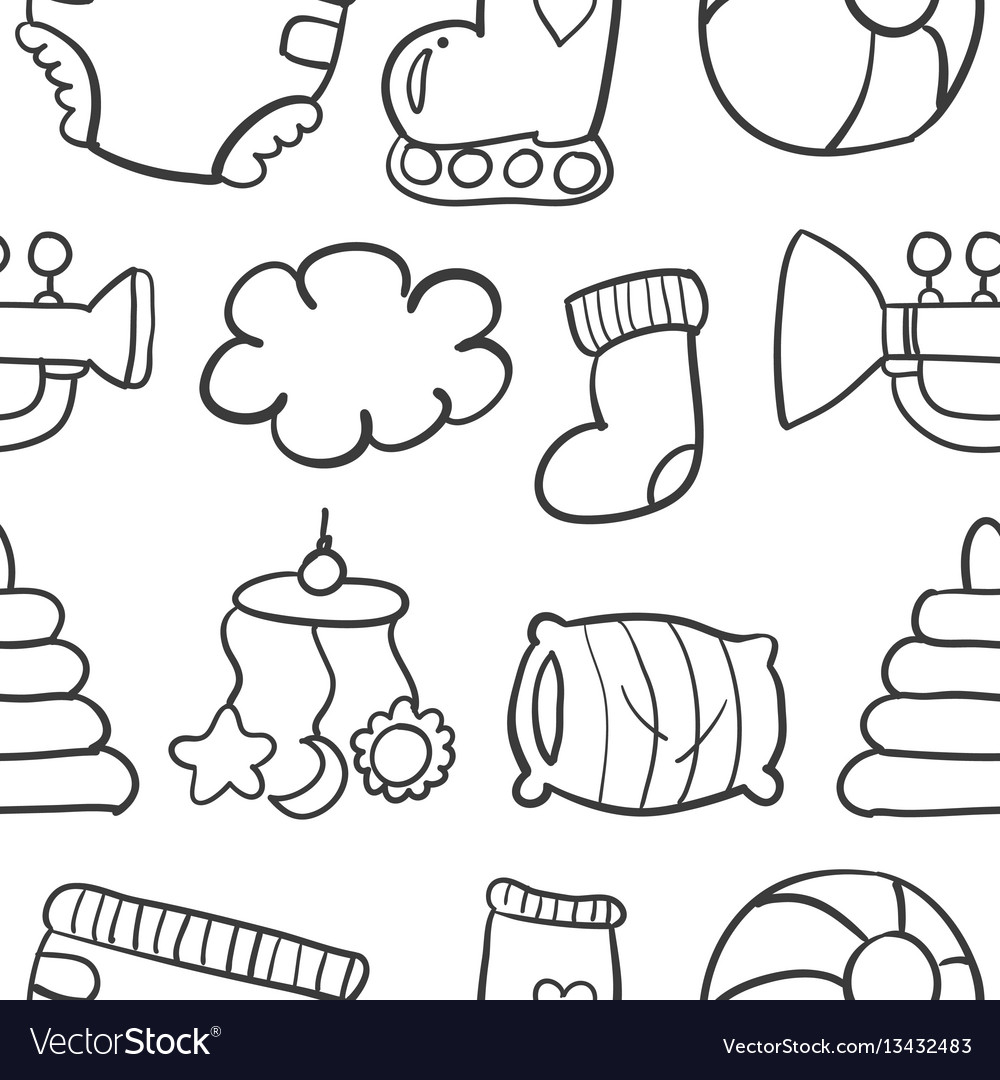 Doodle of baby set collection stock