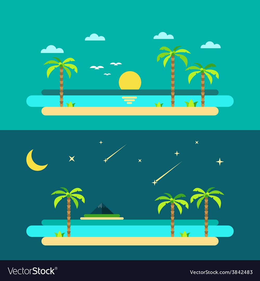 Flat design of summer paradise beach
