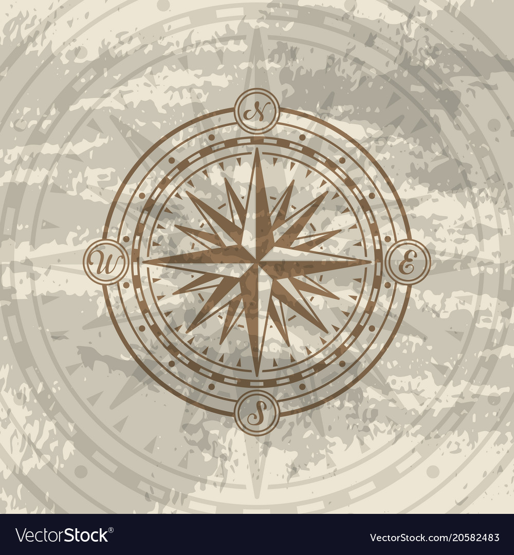 Grunge background with compass rose