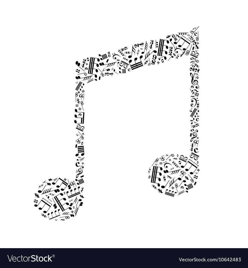 Music note sign made up from a lot of little black