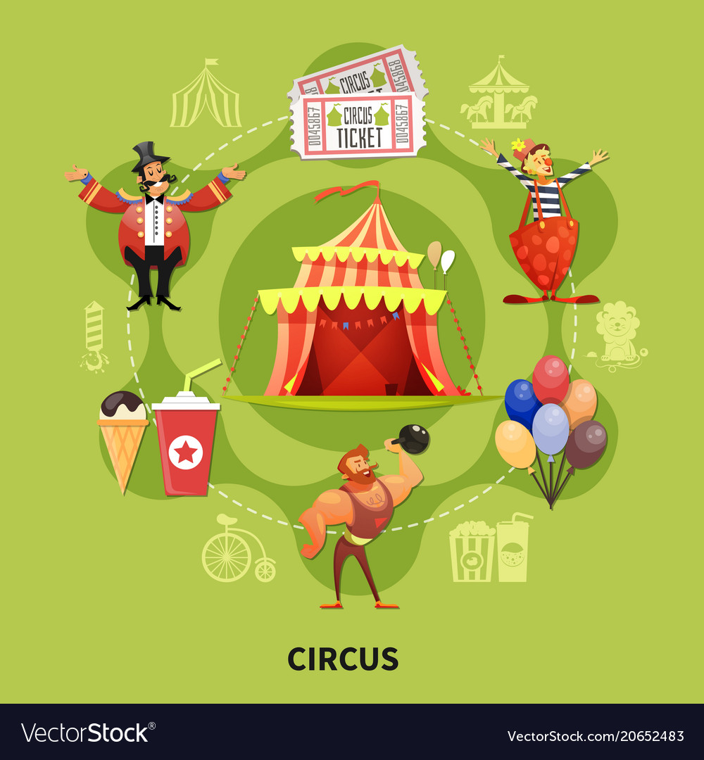 Round circus cartoon composition