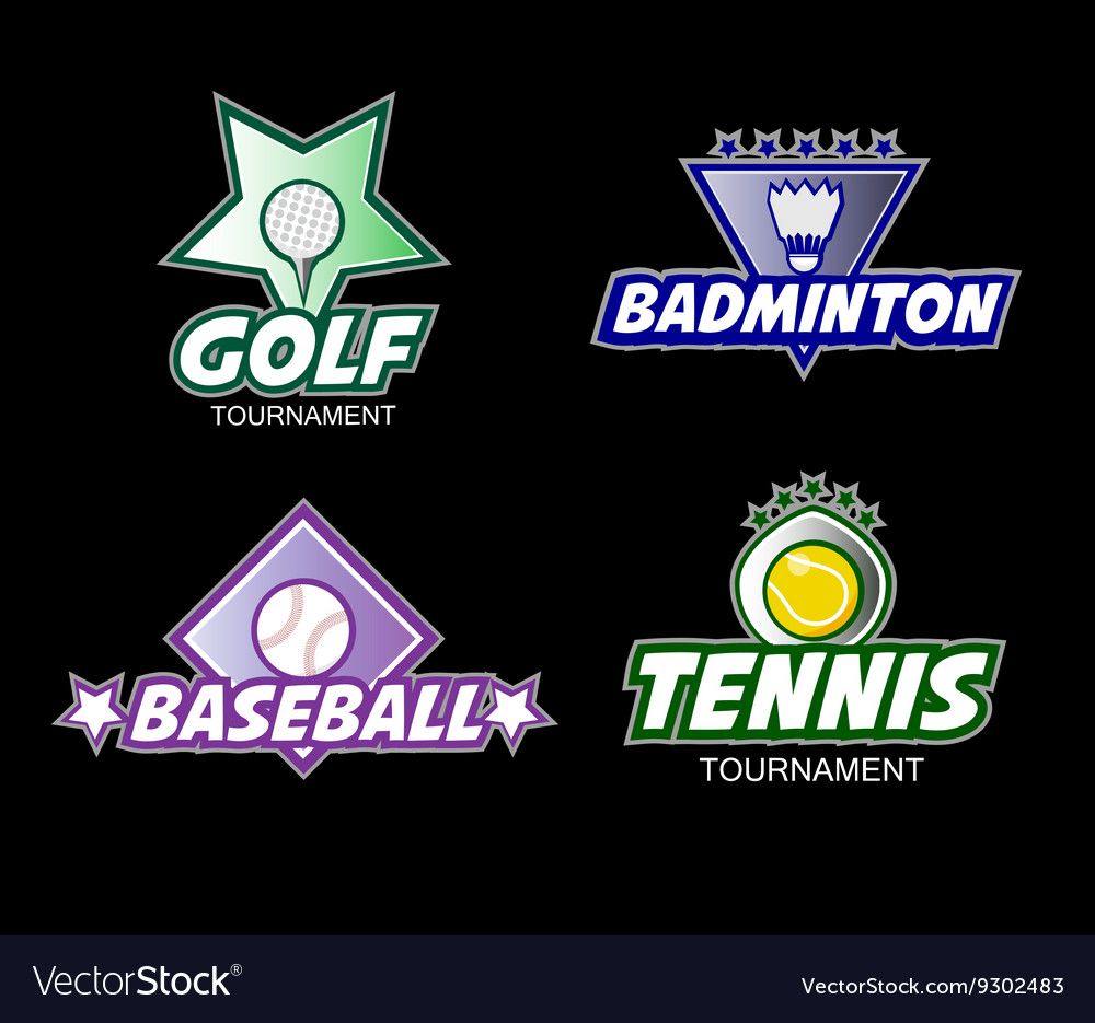 Set of colorful sports logos