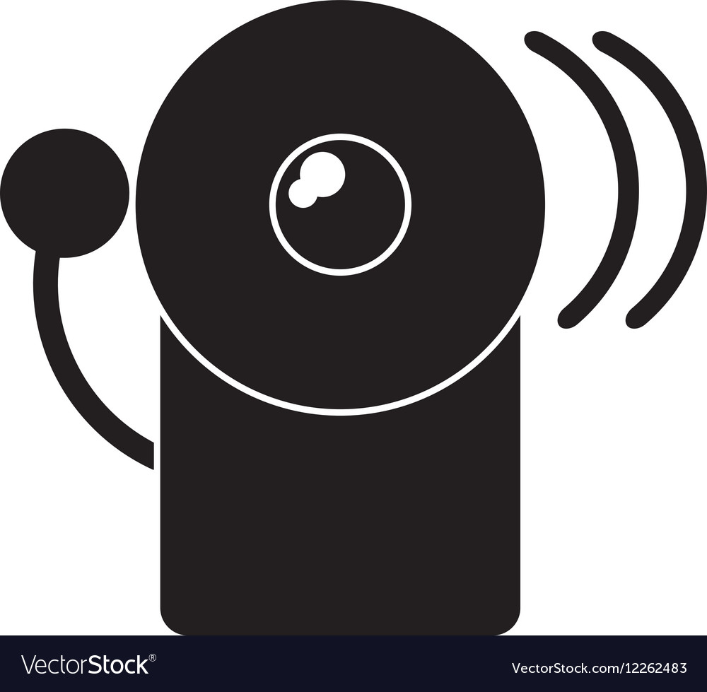 Silhouette Alarm Fire Emergency Alert Icon Vector Image