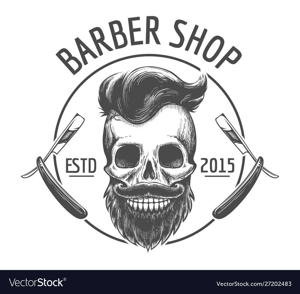 Skulls barber shop logo