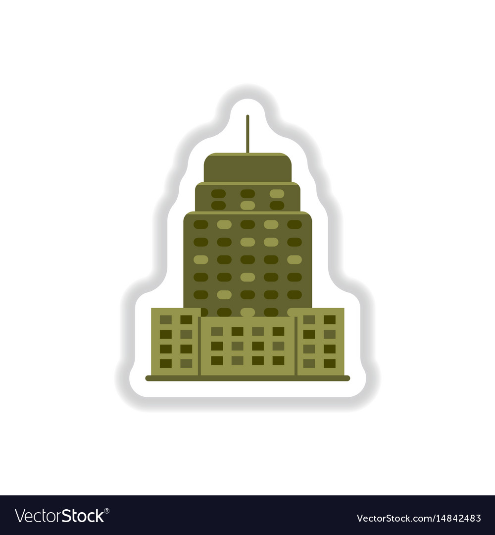 Stylish icon in paper sticker style building vector image on VectorStock