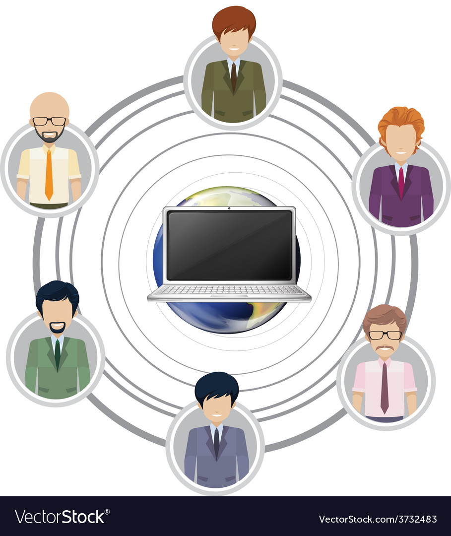 Technology connecting a group of people vector image