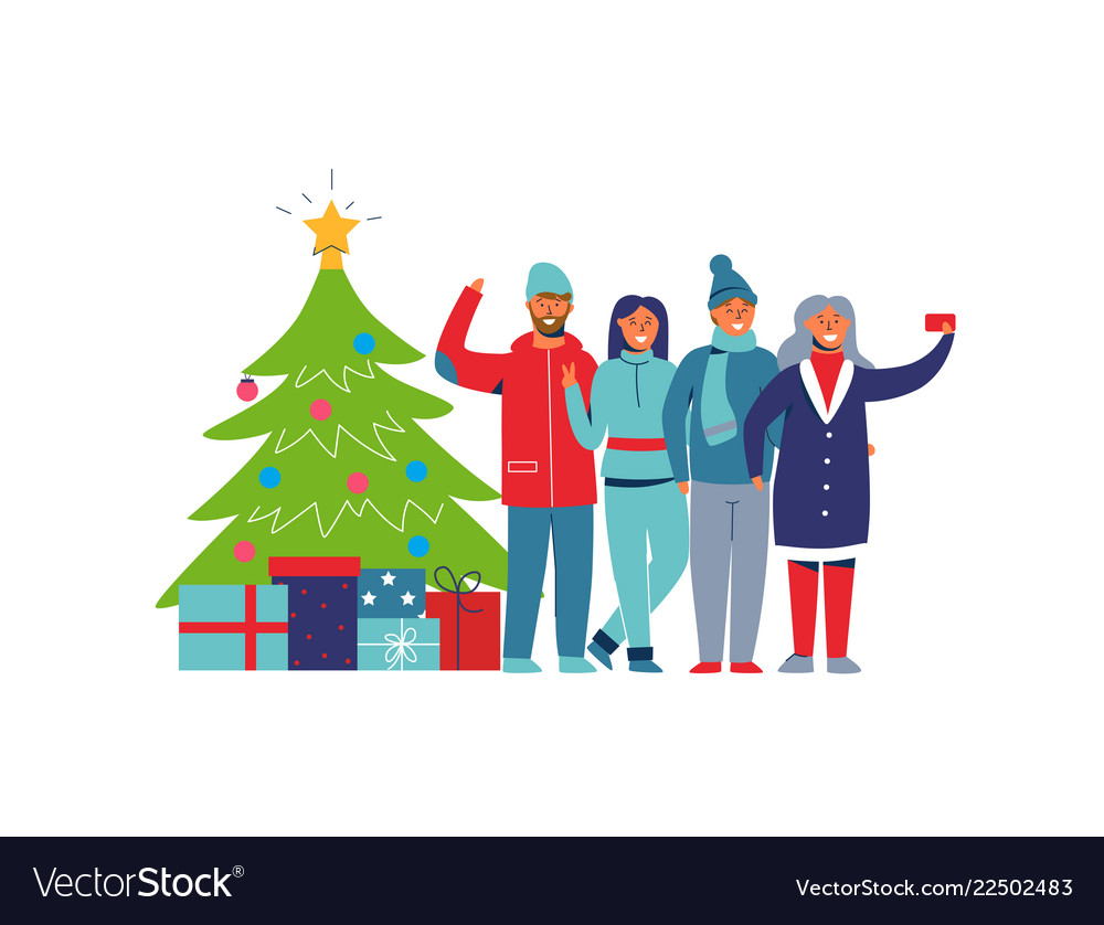 Winter holidays people with christmas tree