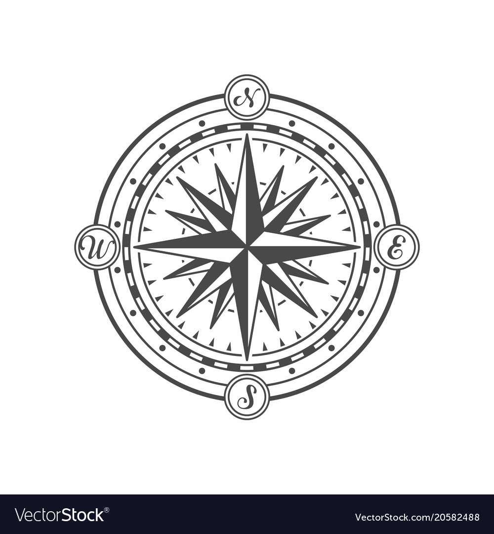 Antique wind rose isolated on white background