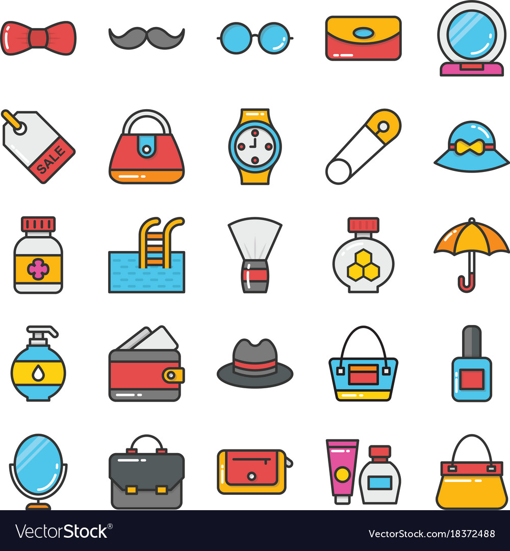 Beauty and fashion colored icons set 3