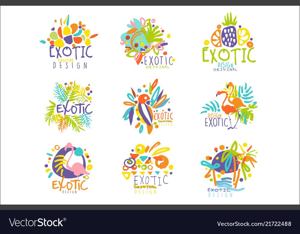 Exotic tropical summer vacation set logo
