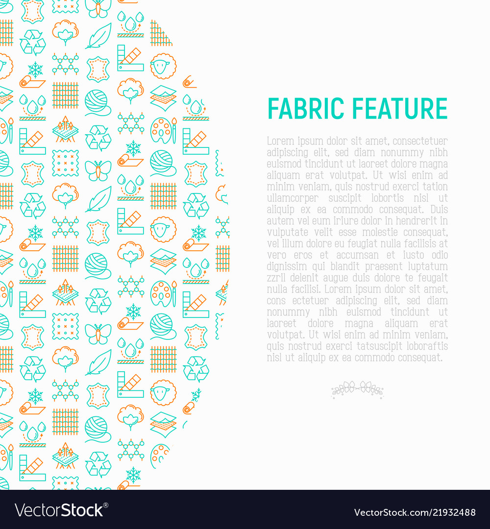 Fabric feature concept with thin line icons