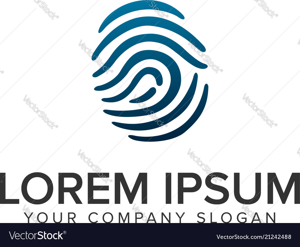 Finger print security logo design concept