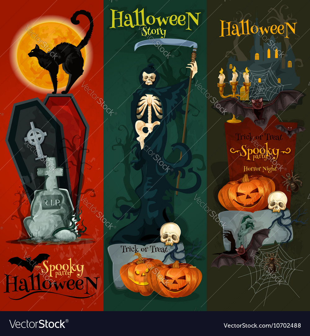Halloween celebration decorative greeting cards vector image