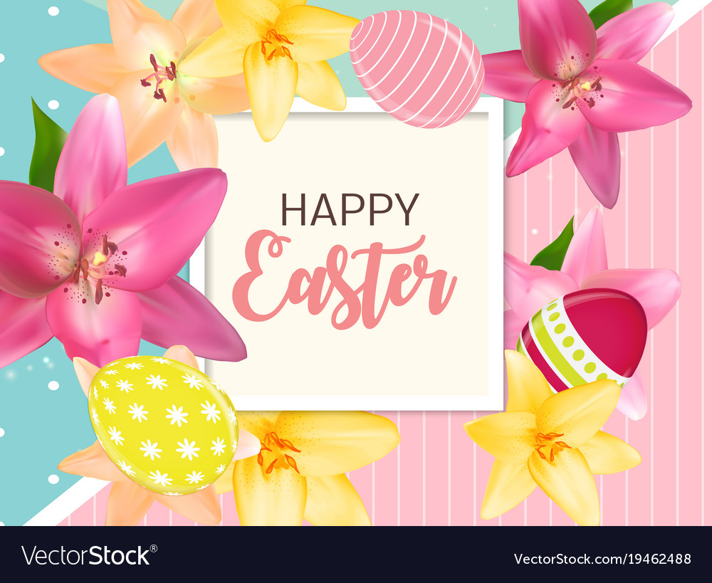 Happy easter cute background with eggs