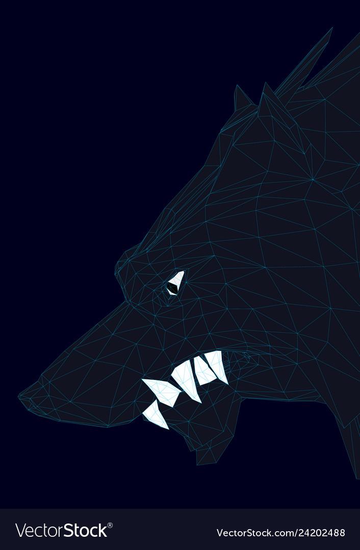 Head of a polygonal black wolf 3d
