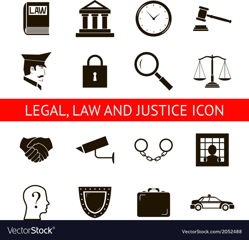 Law Legal Justice Icons and Symbols Isolated