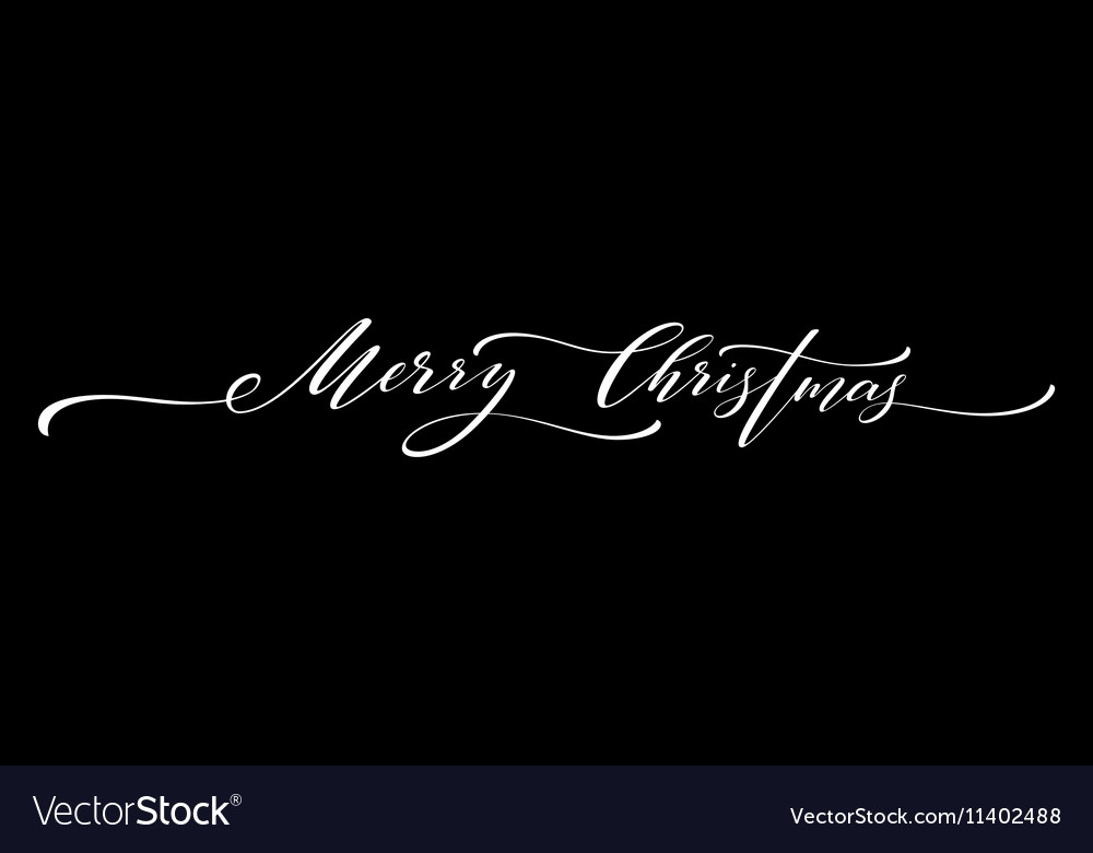 Merry Christmas hand lettering isolated vector image