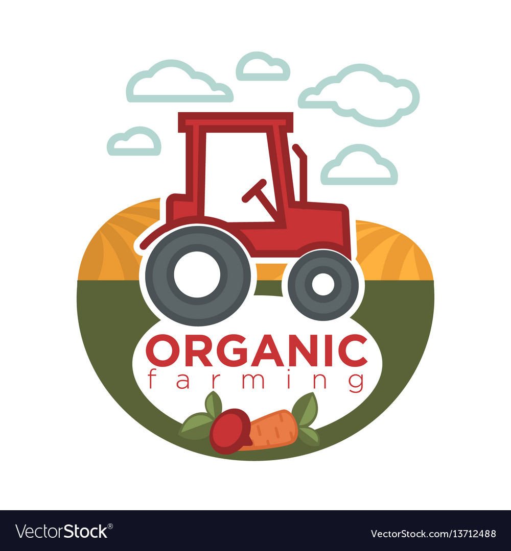Organic farming logo template with agrimotor on
