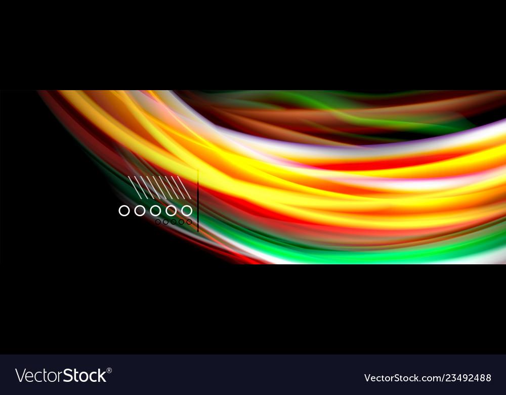 Rainbow color fluid wave lines flow poster wave