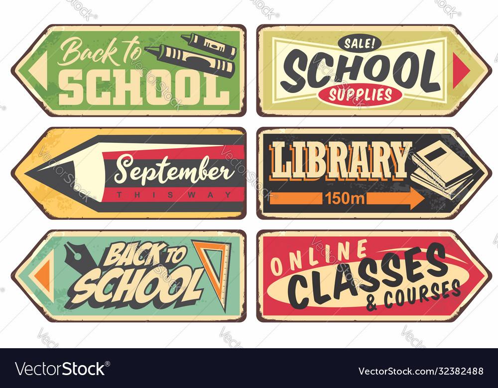 School retro sign set
