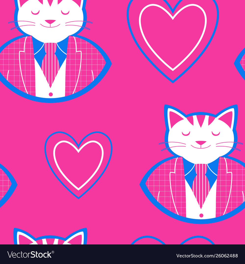 Seamless pattern with happy cat and hearts
