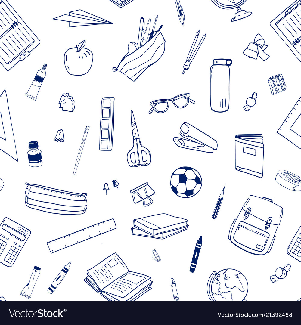 Seamless pattern with school supplies or