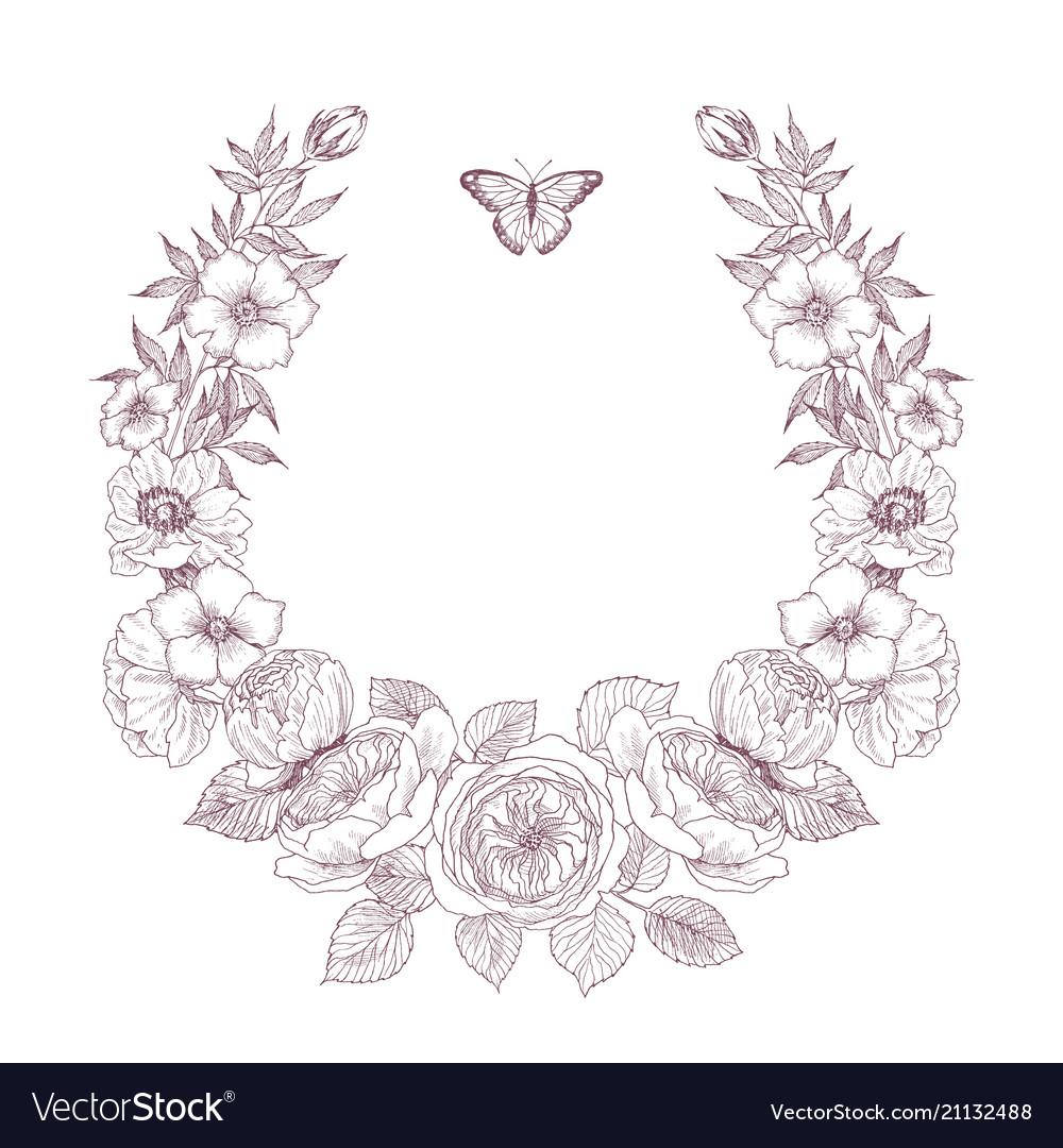 Vintage victorian frame border monogram floral