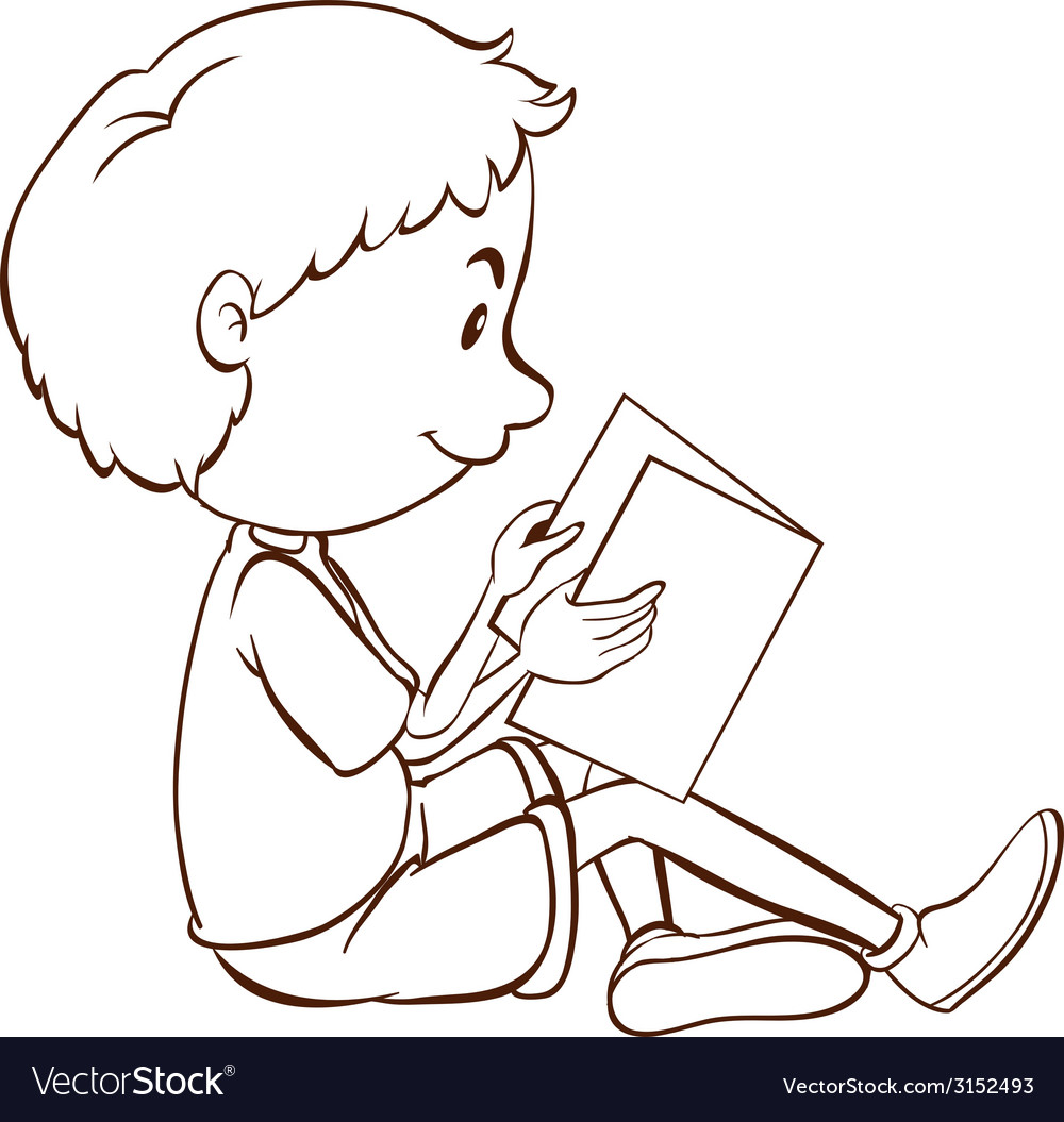 A plain sketch of a boy studying vector image