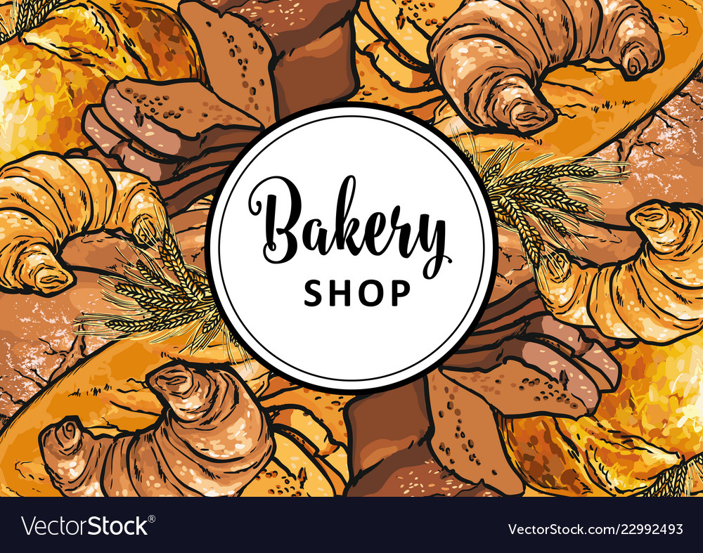 Bakery shop banner or cover with sign on white