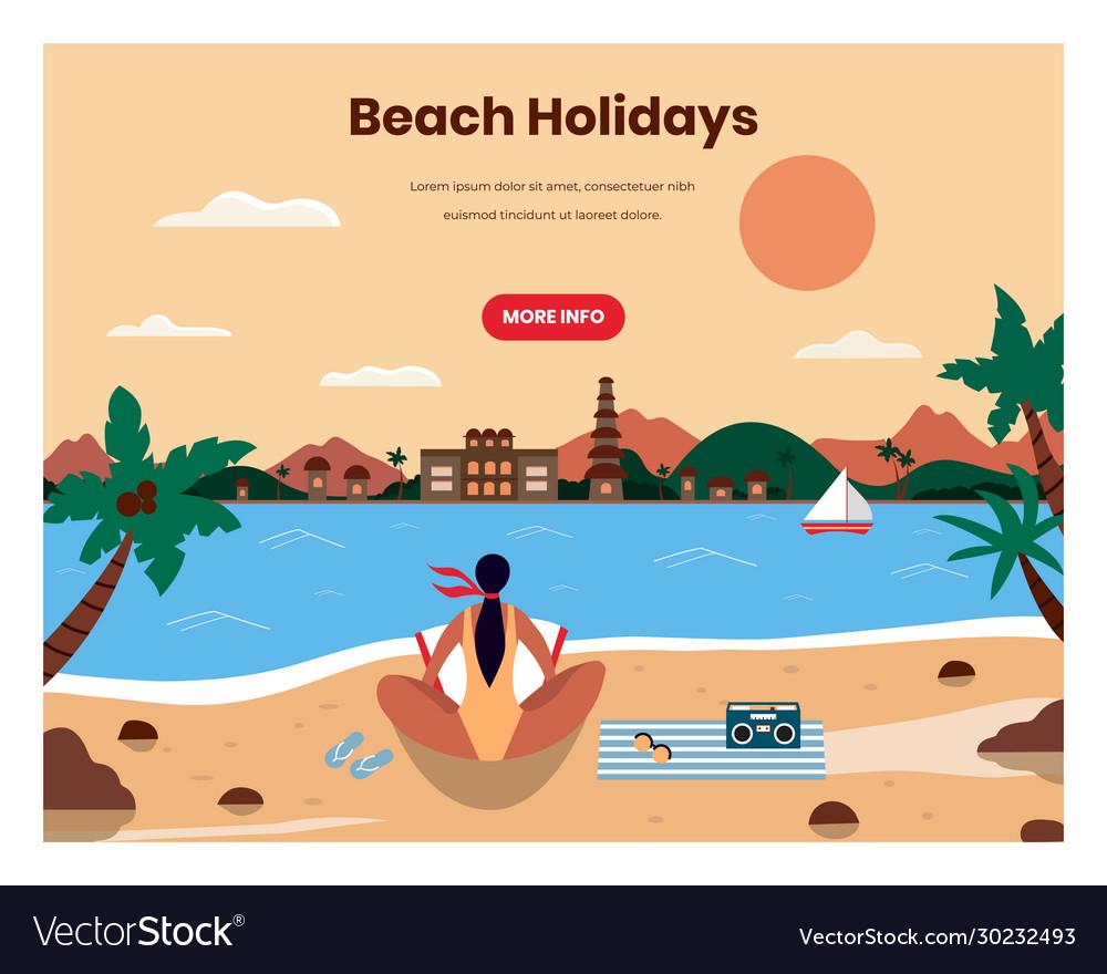 Beach holidays web banner design template