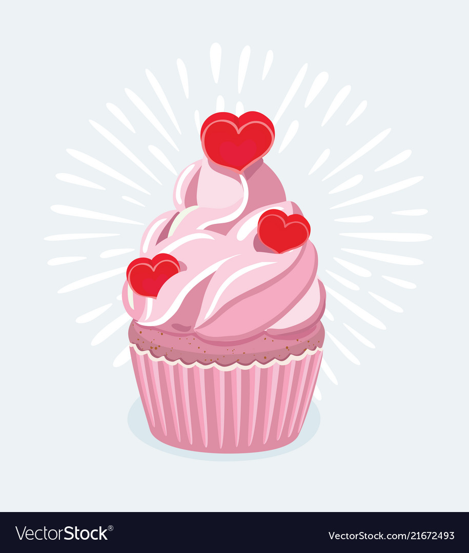 Cupcake Decorated With A Heart Shaped Cake Pick Vector Image