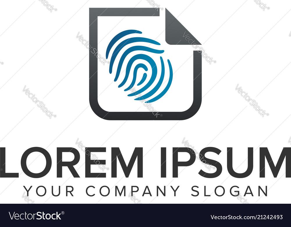 Finger print security document logo design