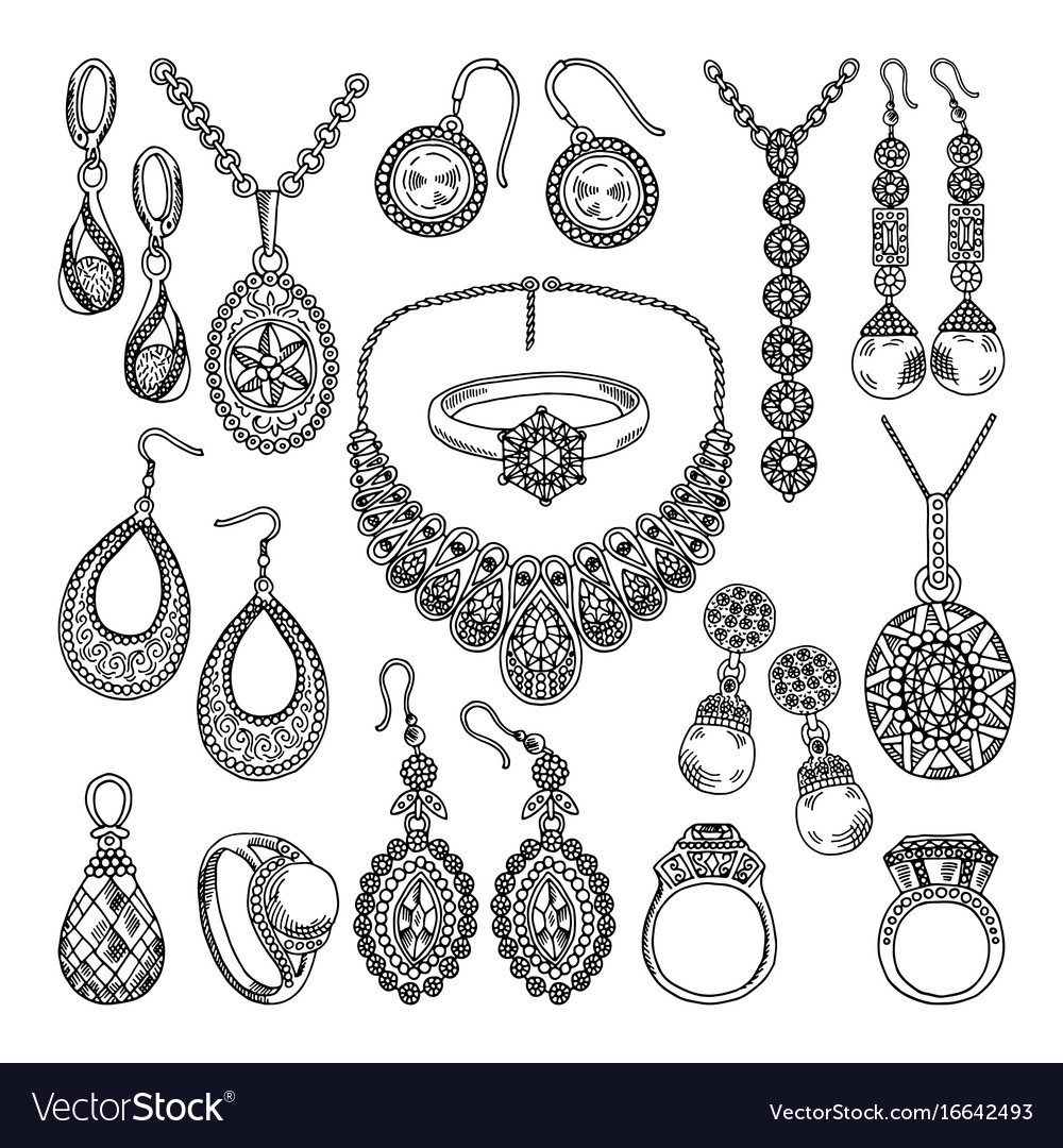 4e65f02d0 Golden and silver jewelry different diamonds and Vector Image
