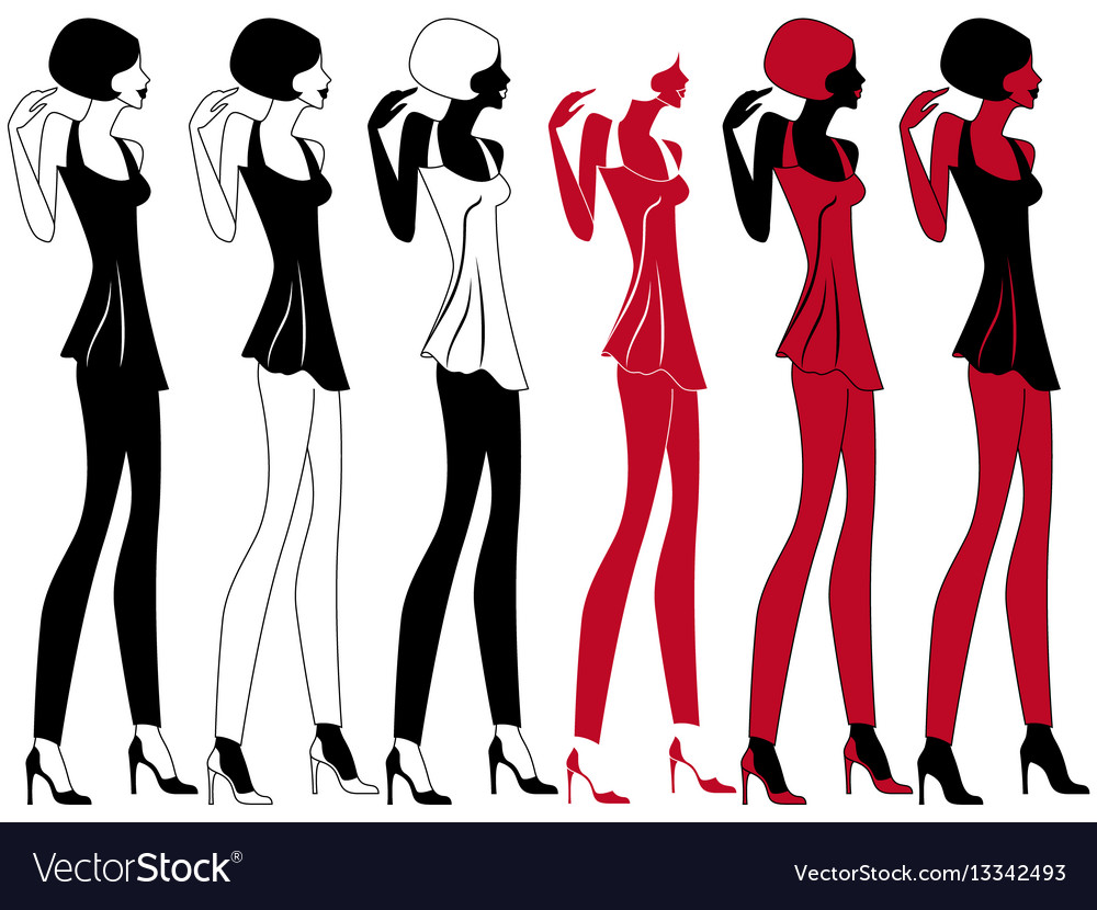 Graceful model in six embodiments vector image