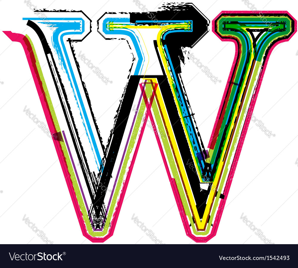 Grunge colorful font Letter W vector image