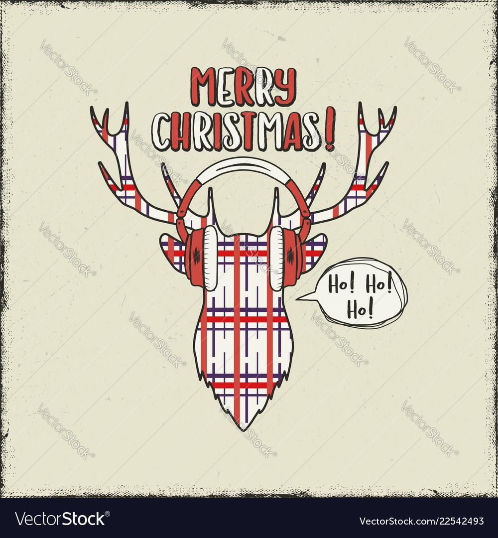 Merry christmas card vintage hand drawn deer head